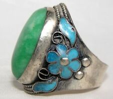 Old Collectible Handwork Green Jade Tibet Silver Enamel Flower Adjust Ring