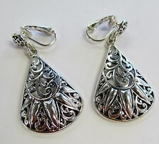 Silver Plated Designer Look Classic Dangle Clip On Drop Earrings # 3191 New