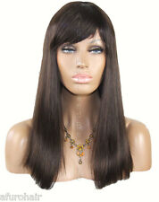 Real Ladys 100% Virgin Remy Human Hair Wig Ladies Dark Long Brown Wigs 20""