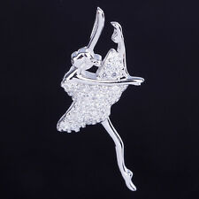"Lovely Womens Silver Ballet Dancer Dancing Girl Pendant Necklace with 18"" Chain"