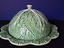 BORDALLO PINHEIRO CABBAGE LEAF Green & White Veins CHEESE DOME & PLATTER PLATE