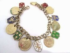 ENAMEL SHIELD COIN CHARM BRACELET VINTAGE CREST GRIFFIN INDIA PAKISTAN 1950S