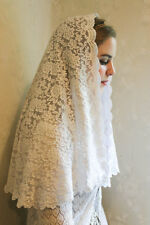 Evintage~ White Hydrangea Chapel Veil Mantilla Head Covering Latin Mass Lace