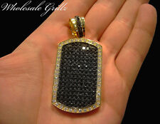 NEW$199 CUSTOM 14K GOLD GP ICED OUT SIMULATE BLACK DIAMOND DOG TAG CHARM PENDANT
