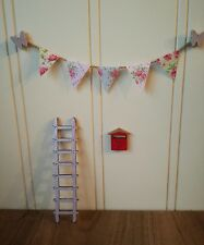 fairy garden accessories, ladder mail box and bunting