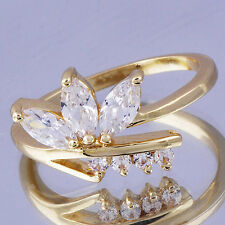Original Womens Ring Clear Cubic Zirconia Yellow gold plated Size 7.5