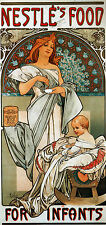 Cotton Canvas Alphonse Mucha Vintage Art Nouveau Deco Nestlé's Infants NEW Print