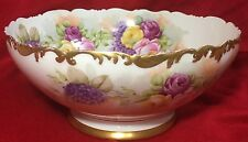 "ANTIQUE T&V LIMOGES 9 1/2"" HANDPAINTED FLORAL PUNCH BOWL EARLY 1900's STUNNING"
