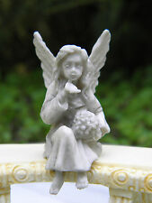 Miniature Dollhouse FAIRY GARDEN Accessories ~ Tiny Gray Sitting Angel ~ NEW