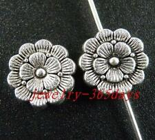 15pcs Tibetan Silver Nice Flower Round Spacers 12x4mm zn28040