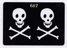 GT687T Body Art Temporary Glitter Tattoo Stencil Skull & Crossbones