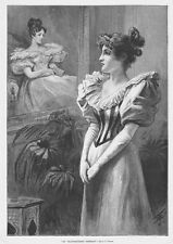 My Grandmother Portrait Victorian Lady by A J Johnson - Antique Print 1893