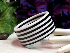 Vintage Extra Wide Black & White Laminated Lucite Bangle Bracelet - MINT!