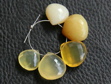 Natural Yellow Opal Faceted Heart Briolette Semi Precious Gemstone Beads 007