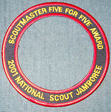 2001 National Boy Scout Jamboree Scoutmaster Five for Five 5 for 5 Award Patch M