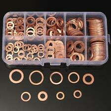 200pz RONDELLE IN RAME ASSORTIMENTO VARIE MISURE SOLID COPPER WASHERS FLAT RING