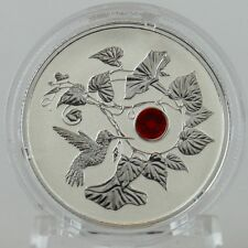 2013 $3 Hummingbird & Morning Glory Pure Silver Reverse Proof Crystal Element
