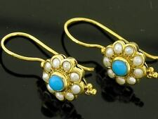 CE012- Genuine 9ct SOLID Yellow Gold NATURAL Turquoise & Pearl Drop Earrings
