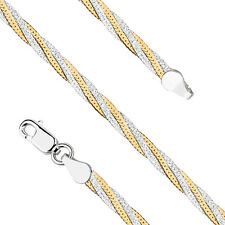 14ct Yellow Gold plated 925 Sterling Silver Braided Snake Chain Necklace, w: 4mm