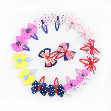 16pcs Cute Children Baby Girls Kids Hair Bow Snap Accessories Clip Safety Magic