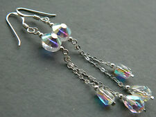 Vintage EXQUISITE Aurora Borealis AB Faceted Glass Crystal & 925 Silver Earrings