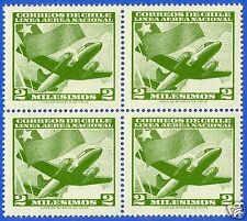 CHILE, AIR PLANE & CHILEAN FLAG, BLOCK OF 4, MNH, YEAR 1960-1962, CASA DE MONEDA