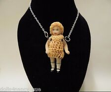 Tiny All Bisque Doll Necklace - 925 Silver Chain - Yellow Crocheted Outfit