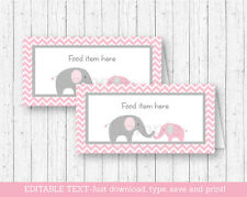 Pink Chevron Elephant Buffet Tent Cards & Place Cards Editable PDF