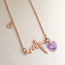 "Heartbeat Necklace 18K rose gold silver or gold plated 18"" chain USA Seller"