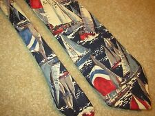 Novelty Necktie neck tie - Lands End Sail Boat Regatta Blue Cotton
