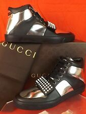 NIB GUCCI BLACK MIRO SOFT GLOW  LEATHER HI TOP STUDDED GG LIMITED SNEAKERS