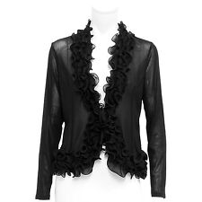 Black blazer soft power net urban outfitters jacket with Double frills womens