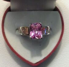 A Jewelry Unisex 10KT White Gold Filled Ring Red Fire Opal & Pink Sapphire Sz 8
