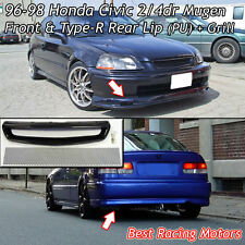 Mu-gen Style Front + TR Style Rear Lip (PU) + Grill (Mesh) Fits 96-98 Civic 4dr