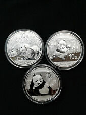 3 Coin Lot - 2013, 2014, and 2015 1oz .999 Fine Silver Chinese Panda Coins