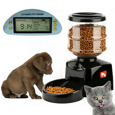 5.5L Automatic Pet Feeder Food Dish Bowl Dispenser LCD Display Dog Cat Black New