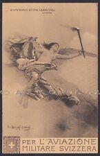 AVIAZIONE MILITARE SVIZZERA Illust. BARZAGHI CATTANEO - CHIATTONE Cartolina 1913