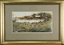 "Asterio Pascolini Landscape Fall 1966 Signed Watercolor Painting 20""x28 1/2"""
