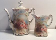 RS PRUSSIA Vintage Antique  FLORAL Tea Pot w/ Handle And matching Creamer