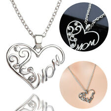 1Pcs Mom Charm Silver Crystal Heart Pendant Necklace for Love Mother's Day Gifts