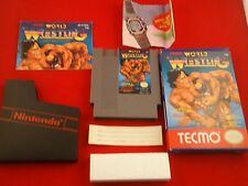 Tecmo World Wrestling  (Nintendo NES, 1990) COMPLETE w/ Box manaul game WORKS!