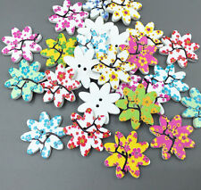 25pcs Wooden Flowers Printing Buttons Sewing Mixed Scrapbooking decoration 25mm