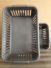 6 x NEW Grey - Whitefurze Handy Basket Storage Box School Office 25cm GREY