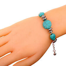 Charm jewelry Lobster Clasp Tibetan Silver Bracelet Round Turquoise Chain Bangle