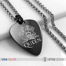MEN Stainless Steel Queen Rock Band Guitar Pick Pendant Braid Necklace Black 14D
