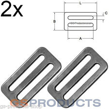 2x 50mm Webbing Buckle Stainless Steel 3 Bar Slide Cam Lock Adjustable FREE P+P