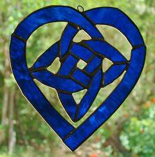 Celestial Blue CELTIC LOVE KNOT stained glass ART SUNCATCHER or GARDEN ORNAMENT