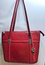 Vintage Brighton Red Cowhide3 Leather Tote Zippered  Bag Purse EUC AZB