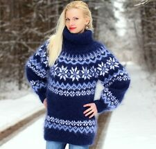 BLUE Hand Knitted Mohair Sweater Icelandic Nordic Warm Pullover by SUPERTANYA