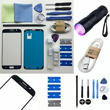 Samsung Galaxy S6 Replacement Screen Front Outer Glass Repair Kit BLACK UV TORCH